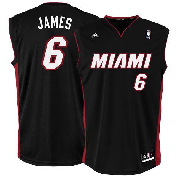 2093b9932 Adidas Camiseta Réplica Lebron James Miami (negro burdeos)